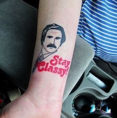 A minimalistic Ron. / 25 Hilarious Tattoos Of Will Ferrell You Won't Believe Are Real (via BuzzFeed)