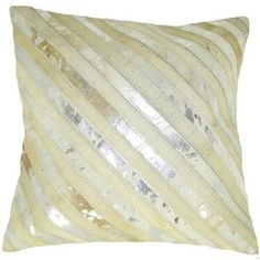 Design Accents Leather Pillow in Natural/Silver