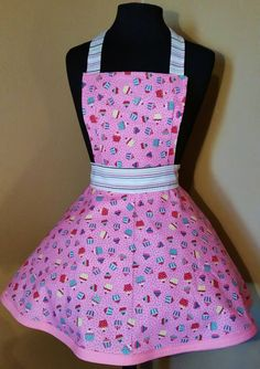 Lucy Apron in Pink cupcake with candy stripe trim $50 seth@houseofsandol.com Copyright ©2011-14 HOUSE OF SANDOL  #houseofsandol #sethbrowder #pinup #flirtyaprons