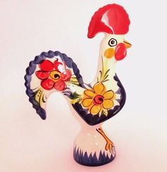 Galo Barcelos Rooster of Luck Portuguese Hand Painted Pottery Souvenir 15 cm/ 6"