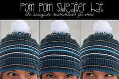 "Laugh in the face of ""Old Man Winter"" and make a cute pom pom hat from an old sweater! Tutorial by the Renegade Seamstress."