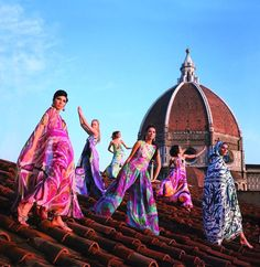 Models wearing Emilio Pucci designs from the 1967 spring/summer collection