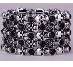 Skull skeleton stretch bracelet for women biker cuff punk halloween crystal jewelry