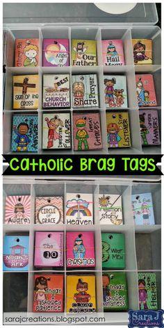 Catholic brag tags to reinforce positive behavior and reward for homework and prayers memorized.