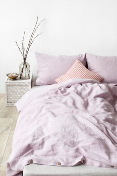 US Queen Size Pink Lavender Linen Bed Set