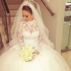 High-Neck Lace Plus Size Muslim Wedding Dresses With Long Sleeves Luxury Bride Dresses Coverd Back