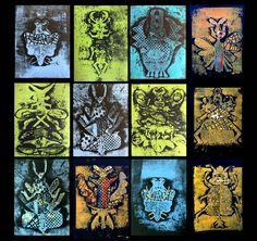een geslaagd experiment met papierdruk en textuur..kinderen in de leeftijd van 6-12 jaar maakten deze mooie werken in druk- en illustratietechnieken. thema: insecten-kriebeldieren in het voorjaar.