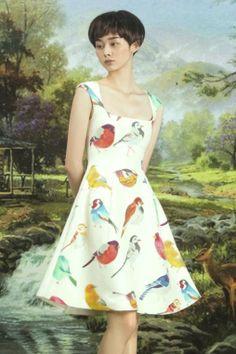 The printed bird dress_Dresses(d)_DESIGNER_Voguec Shop