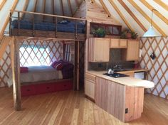 Check out this awesome listing on Airbnb: Fiddlehead Yurt - Arcata - Yurts for Rent in Bayside: refried cycles Tiny Spaces, Loft Spaces, Loft Apartments, Small Space Living, Tiny Living, Yurt Interior, Yurt Home, Yurt Living, Tiny House Design