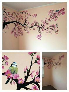 Bilder Wandmalerei: Frühlingsbaum Babyzimmer Mehr Get Your Dream Dining Room with the Right Furnitur Cherry Blossom Painting, Cherry Blossom Tree, Blossom Trees, Cherry Blossom Bedroom, Cherry Blossom Wallpaper, Cherry Tree, Tree Wall Painting, Painting Walls, Tree On Wall