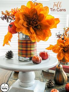 Fall tin cans. Recycled cans for Fall home decor decorating. sewlicioushomedecor.com