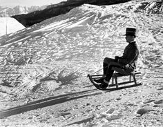 Italian officer on a sled in the Italian Alps 1934 by Alfred Eisenstadt