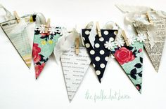 vintage inspired flea market chipboard banner    includes:    6 chipboard pennants: 2 floral with vintage daisy trim  1 navy polka dot  1 vintage