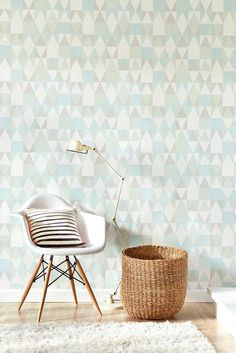A fun wallpaper design featuring an all over geometric, tile effect pattern in pastel shades.
