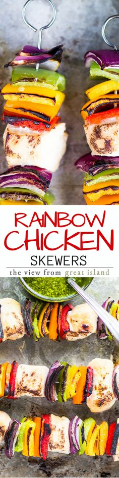 Rainbow Chicken Skewers with Spicy Pesto Sauce ~ my easy chicken skewers can be made on the grill or in the oven, so you can enjoy this healthy 30 minute meal all year long! Healthy Chicken Recipes, Turkey Recipes, Grilling Recipes, Cooking Recipes, Grilling Tips, Snacks Recipes, Meal Recipes, Recipies, Rainbow Chicken