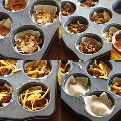 Double Decker Taco Cupcakes...will delete the tortilla chips and just make with the wonton wrappers.
