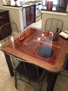 antique pattern made into dining table with wire mesh dining chairs
