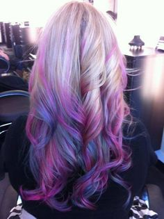 Light purple and pink bottom of blonde hair