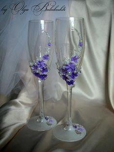 Tender wedding glasses Purple fantasy by ArtsLux on Etsy, $50.00