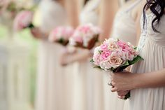 Bridesmaid Bouquets of Standard roses and David Austin Roses