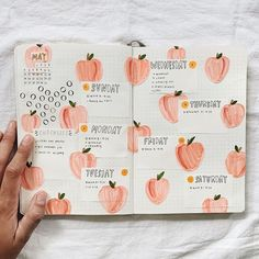 This is such a cute peach bullet journal. Also would be super easy to recreate with water colours! This is such a cute peach bullet journal. Also would be super easy to recreate with water colours! Doodle Bullet Journal, Bullet Journal Aesthetic, Bullet Journal Notebook, Bullet Journal Themes, Bullet Journal Spread, Bullet Journal Layout, Bullet Journal Inspiration, Journal Ideas, Cute Journals
