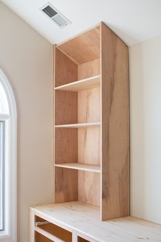 We've been working on DIY built-ins for the last month. Here's how to build the bookshelves using plywood and poplar wood. This step-by-step tutorial walks you through everything to recreate this in your home. Bookshelves Built In, Built In Desk, Built In Cabinets, Kitchen Cabinets, Diy Built In Shelves, Bookcases, Bookcase Plans, Bookshelf Styling, Home Renovation