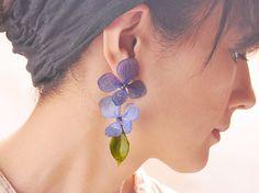瑠璃色アジサイでつくったファッション・ピアス【片耳用】14kgf|ピアス(スタッド・一粒)|NatureHouse