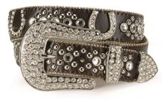 Rhinestone horseshoe leather western belt