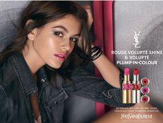 Kaia Gerber for Yves Saint Laurent YSL beauty campaign rouge volupte shine Presley Gerber, Ysl Beauty, Kaia Gerber, Cindy Crawford, Black Heart, Supermodels, Yves Saint Laurent, Campaign, Hollywood