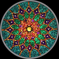 """Mandalas are forms of art made up of a circular design that are created to symbolize """"a life that is everlasting."""" The ord """"mandala"""" means circle or wholeness. People create or use mandalas for different … Mandala Art, Flower Mandala, Mandala Pattern, Mandala Design, Stained Glass Art, Stained Glass Windows, Mosaic Art, Mosaic Glass, Mosaics"""