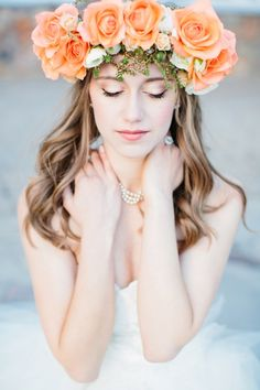 Gorgeous Peach wedding inspiration starting with this stunning floral headpiece (image by Lora Grady Photography) Flower Head Wreaths, Hair Wreaths, Aqua Wedding, Wedding Colors, Wedding Mandap, Cream Wedding, Wedding Stage, Wedding Ideas, Wedding Receptions