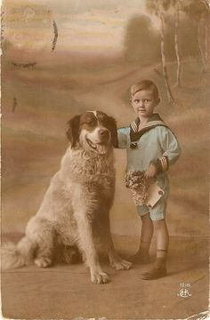 Boy with his dog Vintage French Postcard by sharonfostervintage, $5.00