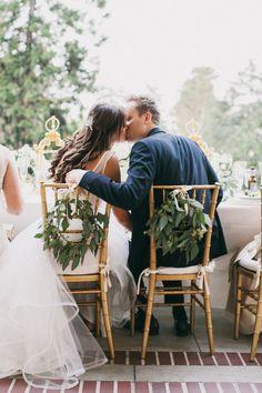 Villa Montalvo Wedding  Sweet couple share a kiss before dinner Photo By Alexandra Wallace