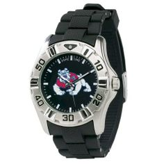 NCAA Men's CM-FRE MVP Series Fresno State Bulldogs Watch Game Time. $49.95. Officially licensed team logo and colors. Precise Japanese miyota Quartz movement. Water-resistant to 99 feet (30 M). All metal case with stainless steel case back and comfort-link adjustable PU strap. Black sunray dial with glow-in-the-dark hands and indexes