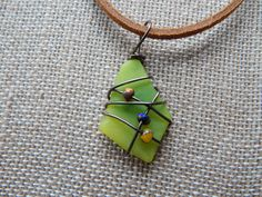 Colorful Wire Wrapped Stained Glass Pendant by UniqueChiqueJewelry