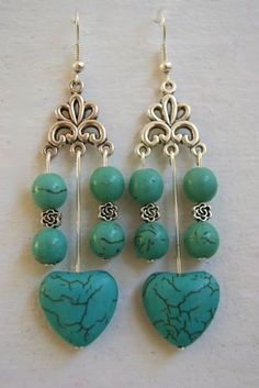 Beautiful turquoise mottled hearts with some china mottled turquoise beads