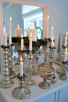 Silver candlesticks (Or cheap candle sticks and lots of silver spray paint. ~ We are talking Aroostook County, here folks! Bougie Partylite, Silver Spray Paint, Silver Candlesticks, Christmas Decorations, Holiday Decor, Christmas Candles, White Christmas, Deco Table, Candle Lanterns