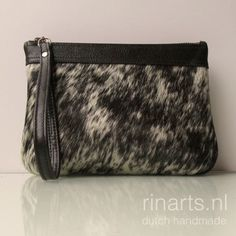 Clutch in salt and pepper cow hair leather