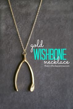 Gold Wishbone Necklace -- Great for Fall! I'm in LOVE!!!  #gold #diyjewelry