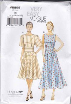 Vogue+Sewing+Pattern+8895+Misses+Sizes+8-16+Easy+Summer+Flared+Skirt+Dress