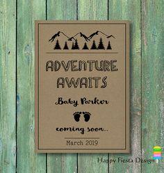 PRINTABLE Baby Announcement Card–Printable Pregnancy Announcement Card–Adventure Baby Reveal-Mountain Pregnancy Reveal Card-Mountain Baby