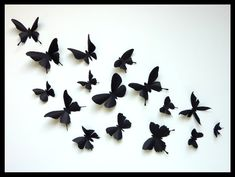 3D Wall Butterflies - 30 Assorted Black Butterfly Silhouettes, Nursery, Home Decor. $45.00, via Etsy.