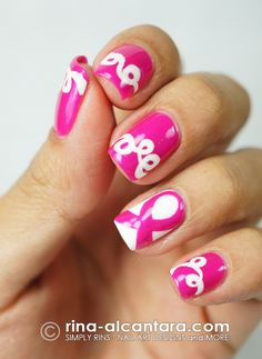 Pink Ribbon and Loops Nail Art for Breast Cancer Awareness Month check out www.ThePolishObsessed.com for more nail art ideas.