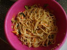 Spaghetti con verdure e germe di grano