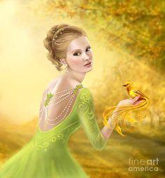 Poster que caracteriza a arte digital de Mulher romântica bonita e fantasia do pássaro do ouro por Alena Lazareva