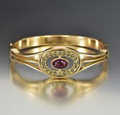 Amethyst Crystal Antique Gold Filled Bangle Bracelet