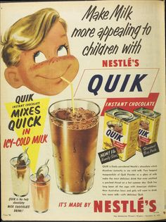 1958 Nestles Quik Drink Page from August Womens' Weekly Magazine Old Advertisements, Retro Advertising, Retro Ads, Retro Food, Vintage Food Labels, Vintage Ads, Vintage Posters, Vintage Humor, Retro Recipes