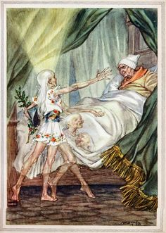"""Illustration of Dicken's Ghost of Christmas Past in """"A Christmas Carol,"""" -- by Libico Maraja, [1912--1983, Italian]"""