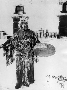 Photo of a Sakha shaman from a Russian postcard series from 1961: