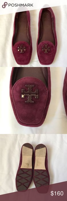 Tory Burch Fitz flats Kid suede • Merlot • Square toed • Classic Logo • Only worn a Few Hours • In Original Box Tory Burch Shoes Flats & Loafers